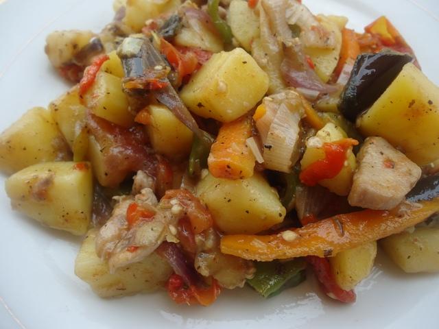Making Eggplant and Potato Stirfry