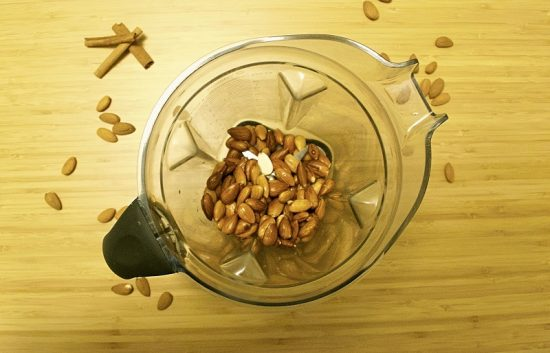 Put almonds in blender
