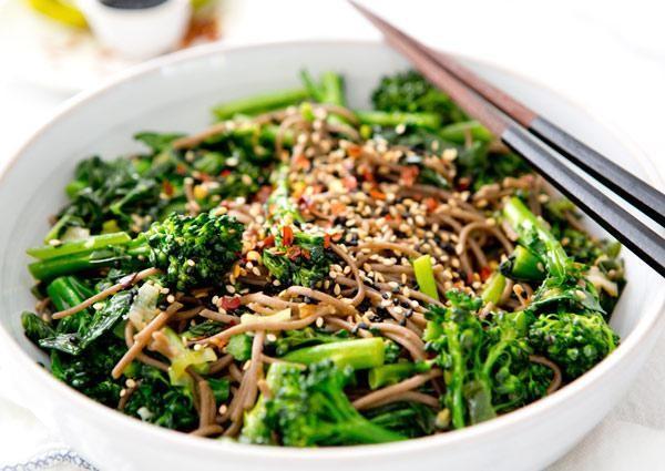 Rapini vegan soba noodle